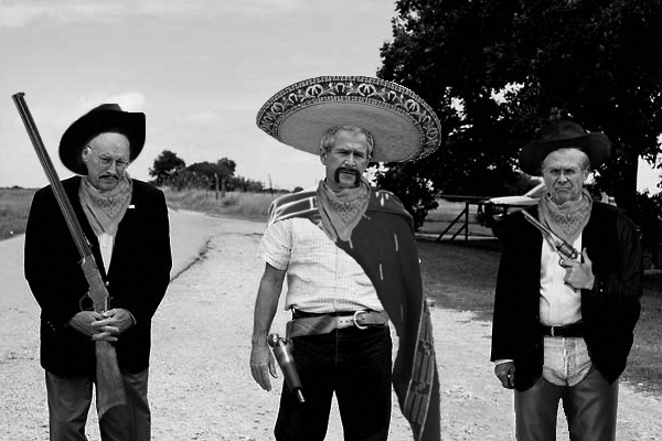 Photo of Dick Cheney, George W. Bush, and Donald Rumsfeld edited to look like Mexican banditos