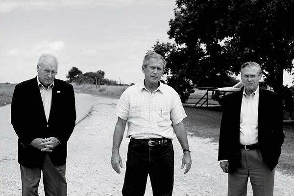 Photo of Dick Cheney, George W. Bush, and Donald Rumsfeld